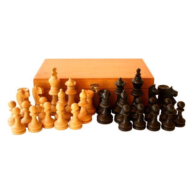 Mid-century Carved Wood Chess Pieces With Box - Image 1 of 5