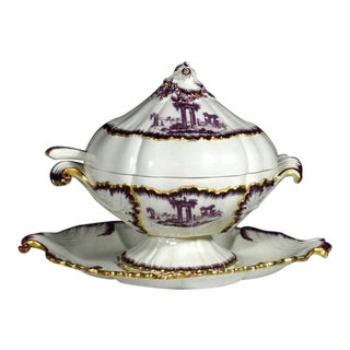 Creamware Sauce Tureen Puce-Decorated by Neale & Co. 18th-century