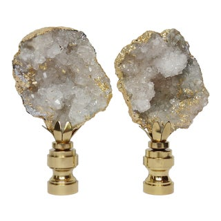 Gold Leaf Geode Crystal Finials - a Pair