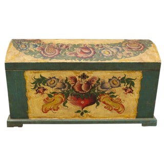 Dome-Top Hand-Painted Blanket Chest