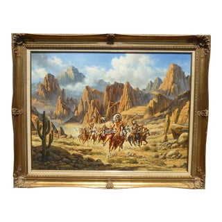 Large Vintage Oil on Canvas of American Indians on Horses in Canyon, 1987