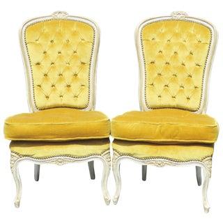 Louis XVI Yellow Tufted Slipper Chairs - A Pair