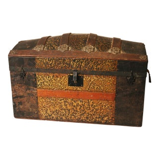 Antique Victorian Camelback Steamer Trunk