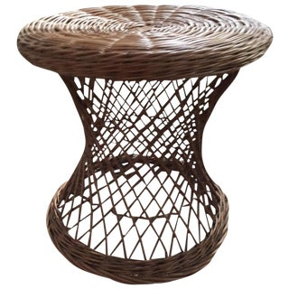 Vintage Round Wicker Side Table