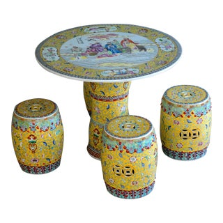 Chinese Ceramic Porcelain Garden Table & Stools - Set of 5
