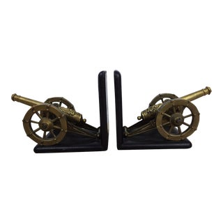 Antique Artillery French Leather & Bronze Bookends - A Pair