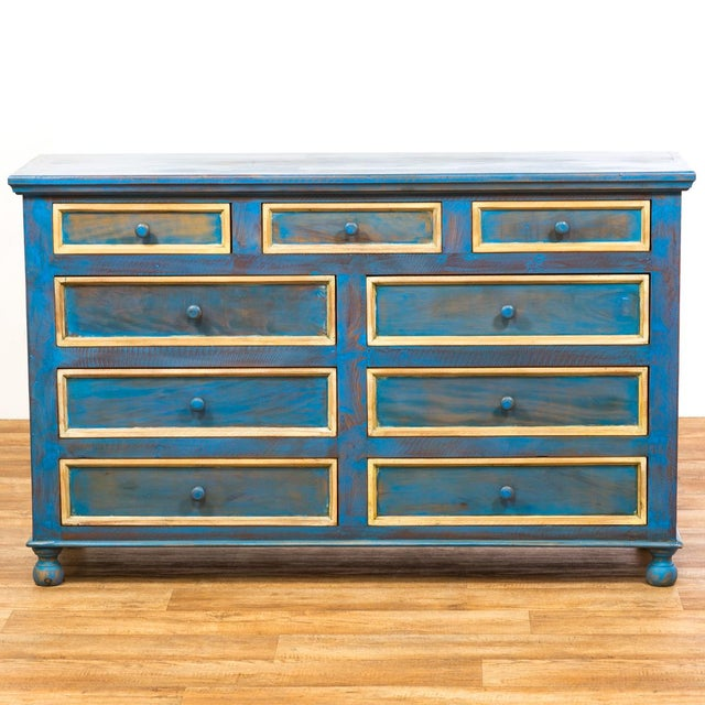 Reclaimed Solid Wood Distressed Blue Chest of Drawers/Dresser - Image 2 of 8