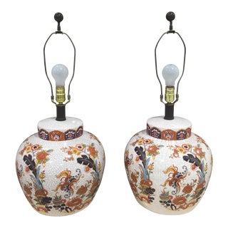 Crackle Glazed Painted Lamps - A Pair
