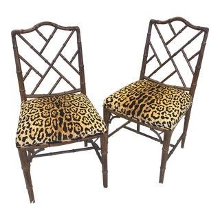 Vintage Bamboo Cheetah Chairs - a Pair