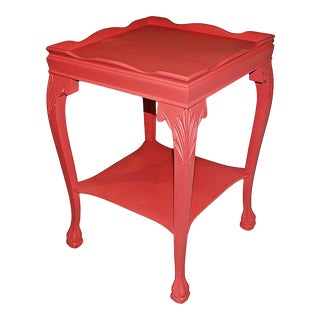 Coral-Painted Mahogany Side Table