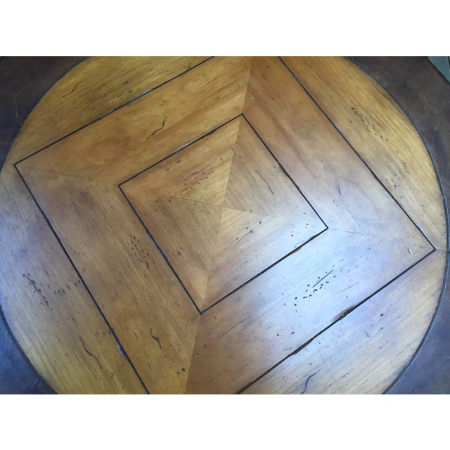 Henredon Highlands Leather Top Round End Table - Image 5 of 10