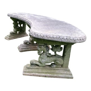 French Cement Garden Lion Bench 1 of a PAIr