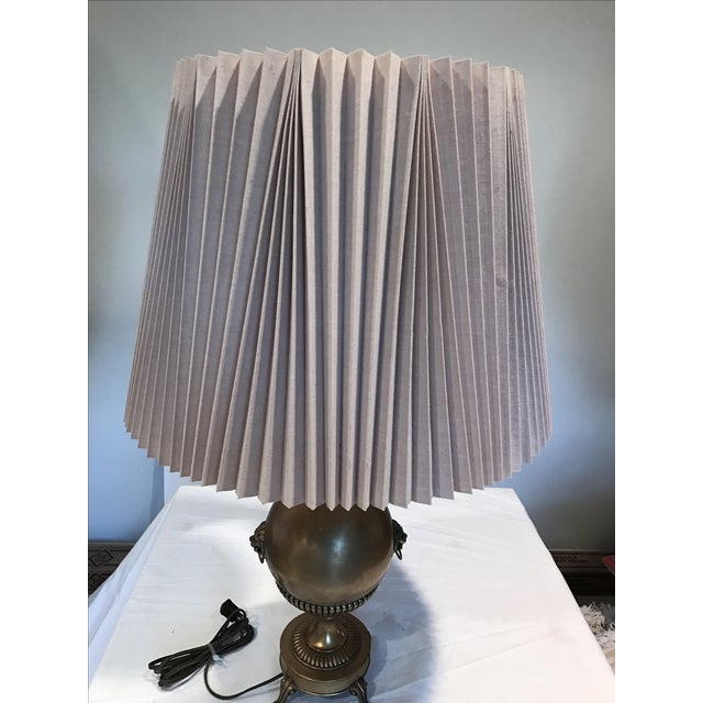 Neo Classical Early Stiffel Brass Lamp With Milk Glass Torchiere and Original Shade - Image 10 of 10
