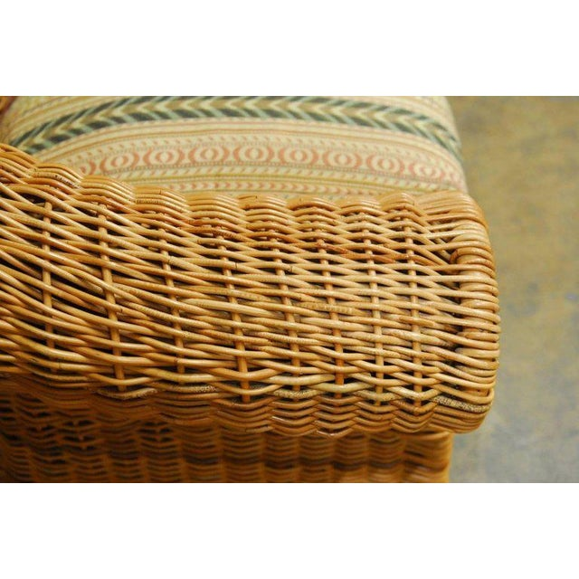 Michael Taylor Inspired Wicker Lounge Chair and Ottoman - Image 5 of 11