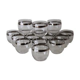 Silver Band Roly Poly Cocktail Glasses - Set of 16