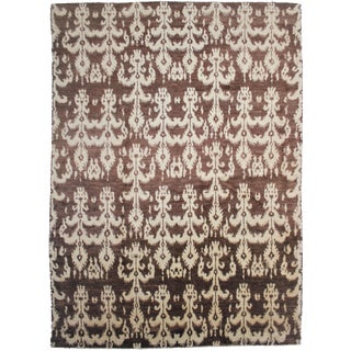 "Aara Rugs Inc. Hand Knotted Ikat Rug - 13'7"" X 10'0"""