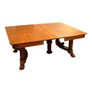 Antique Oak Pedestal Dining Table