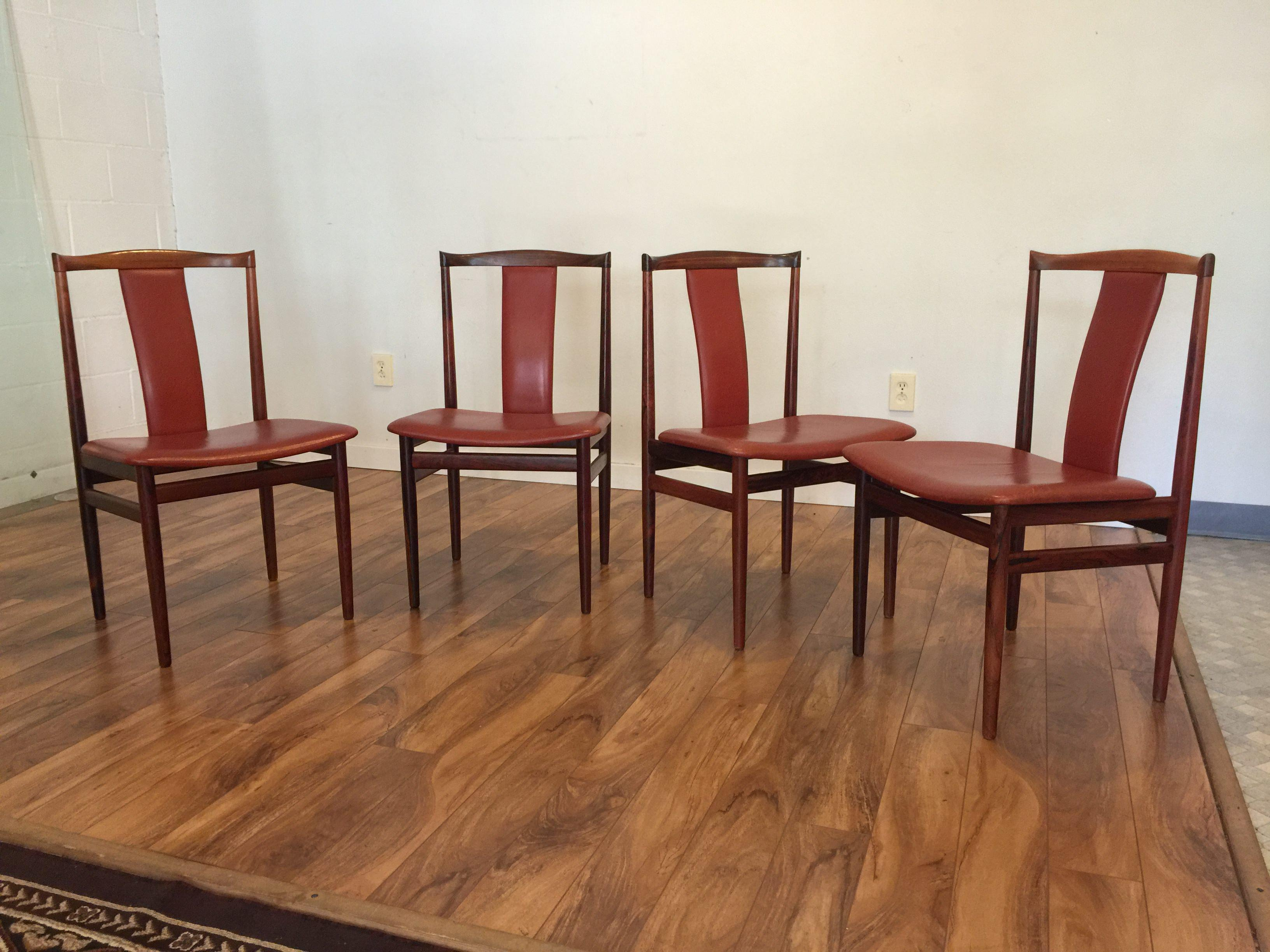 henning sorensen rosewood u0026 leather dining chairs set of 4 image 3 of 11