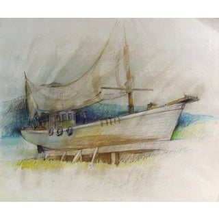 Study Boat in Dry Dock, Oil Pastel on Paper