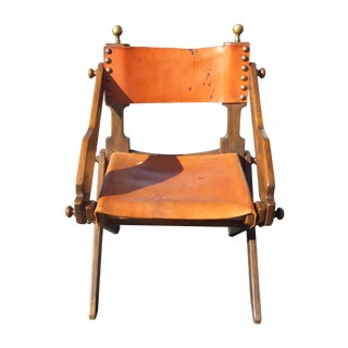 Vintage Orange Leather Director's Style Chair