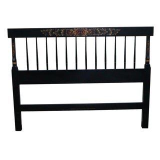 Hitchcock Black Painted Stenciled Full Size Headboard