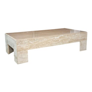 Italian Modern Travertine Marble Low Table, in the Manner of Willy Rizzo