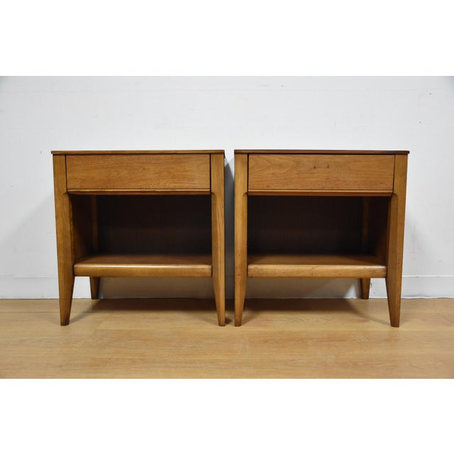 Mid-Century Walnut Nightstands - A Pair - Image 2 of 8