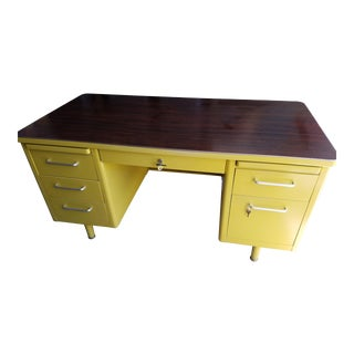 Steelcase Mid Century Yellow Rosewood Top Desk