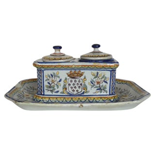Vintage French Faience Ink Well