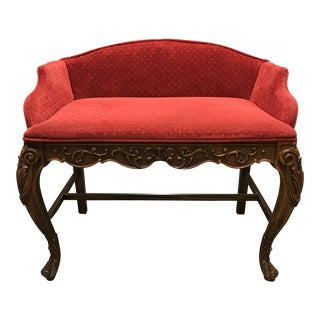Antique Solid Oak & Upholstered Settee