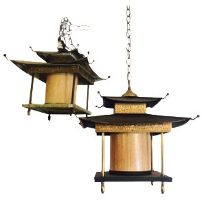 Mid-Century Asian Pagoda Chandeliers - A Pair