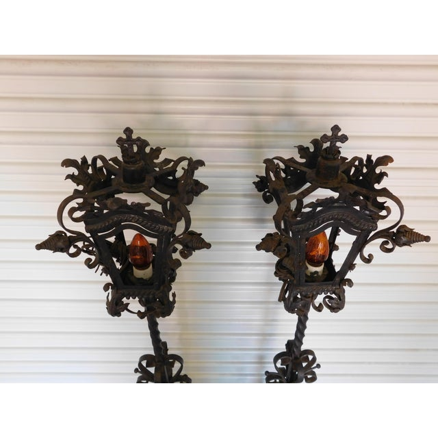 Image of Converted Street Post Lamps - A Pair