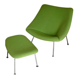 Pierre Paulin for Artifort Holland Oyster Lounge Chair & Ottoman - A Pair