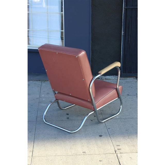 Postmodern Deco Style Chrome Lounge Chair in Mauve - Image 5 of 9