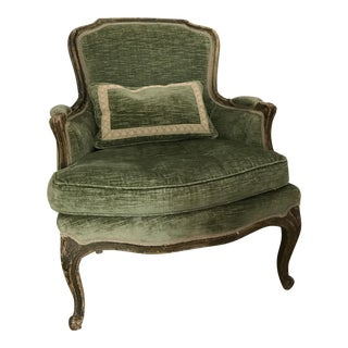 Green Velvet Louis XV Bergere Chair