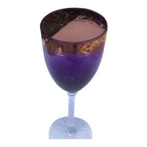 Mid-Century Purple & Gold Trim Wine Glass