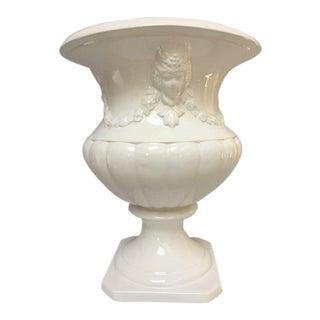 White Neoclassical Ceramic Urn Planter