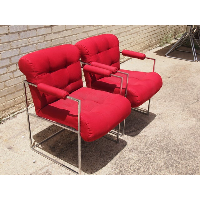 Milo Baughman Lounge Chairs in Red - A Pair - Image 3 of 3