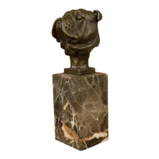 English Bulldog Dog Head Bronze Bust Sculpture