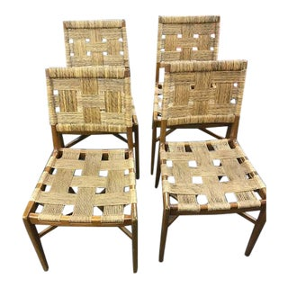 Mid-Century Wood & Rattan Dining Chairs - Set of 4