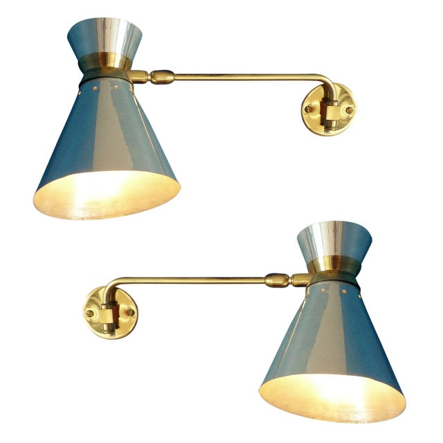 Pierre Guariche Style Adjustable Wall Scones - A Pair - Image 1 of 9