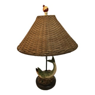 Basket Shaded Trout Frog Table Lamp