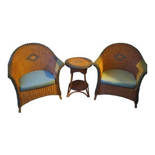 Vintage Typhoon Intl Wicker Chairs + Table - 3 Pc.