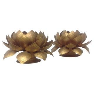 Regency Lotus Blossom Candleholders - A Pair