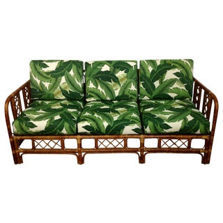 Palm Print Rattan Sofa