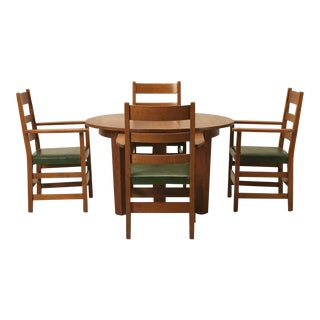 Arts & Craft Dining Table and Chairs in Original Condition
