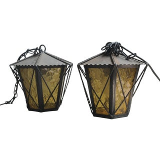 Vintage Wrought Iron Exterior Lanterns - A Pair
