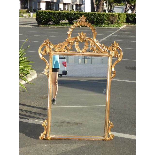 Large Vintage French Italian Rococo Ornately Carved Gold Gilt Wall Mantle Mirror Made in Italy - Image 10 of 11