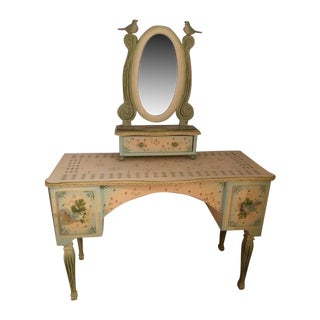 Hand Painted and Carved Makeup Table Desk