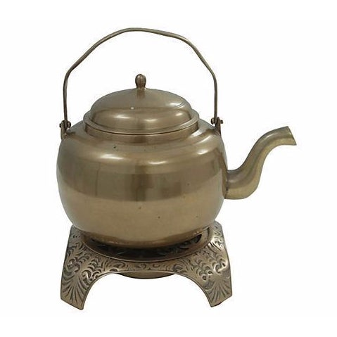 Brass Kettle and Warming Plate - Image 1 of 7